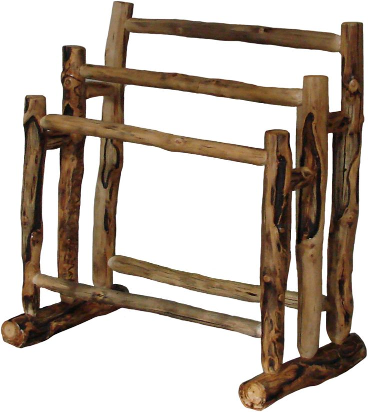 rustic quilt  rack made from  branches | Click image to view larger