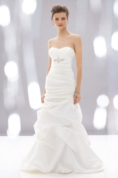 Strapless floor-length satin bridal gown with ruffle embellishment