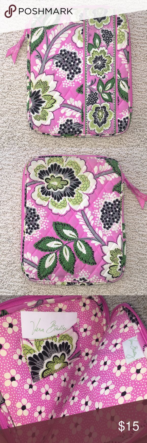 Bet Bradley IPad Sleeve This is the Priscilla Pink pattern that is no longer available online. The zipper moves around 2 sides of the sleeve. The inside is in new condition the outside has some discoloration. Vera Bradley Bags Laptop Bags