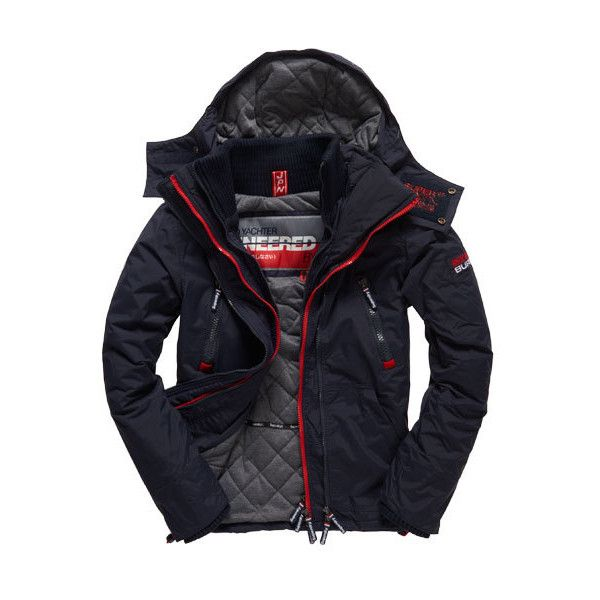 Superdry Wind Yachter Jacket ($100) ❤ liked on Polyvore featuring men's fashion, men's clothing, men's outerwear, men's jackets, navy, mens navy quilted jacket, mens windbreaker jacket, mens navy blue quilted jacket, mens navy blue jacket and mens jackets