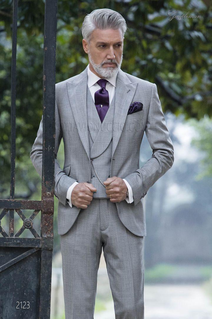 Abito Matrimonio Uomo Grigio : Abito elegante da cerimonia uomo principe di galles grigio style