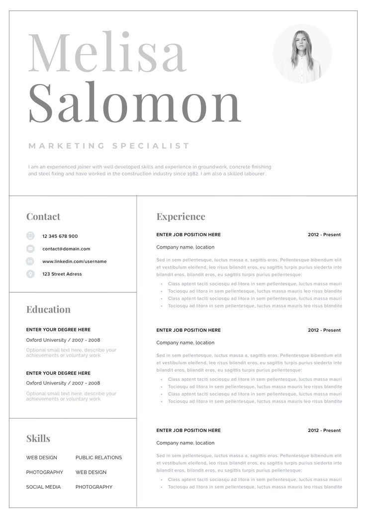 Professional CV template with photo for word Simple CV template CV