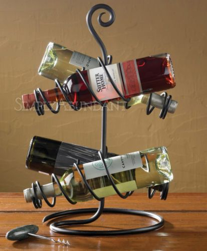 """Four Bottle Wine Rack by Park Designs, in hand-forged iron, natural finish. Unique style - makes a great gift for wine lovers. 18.25"""" High x 12.5"""" Diameter. Free shipping."""