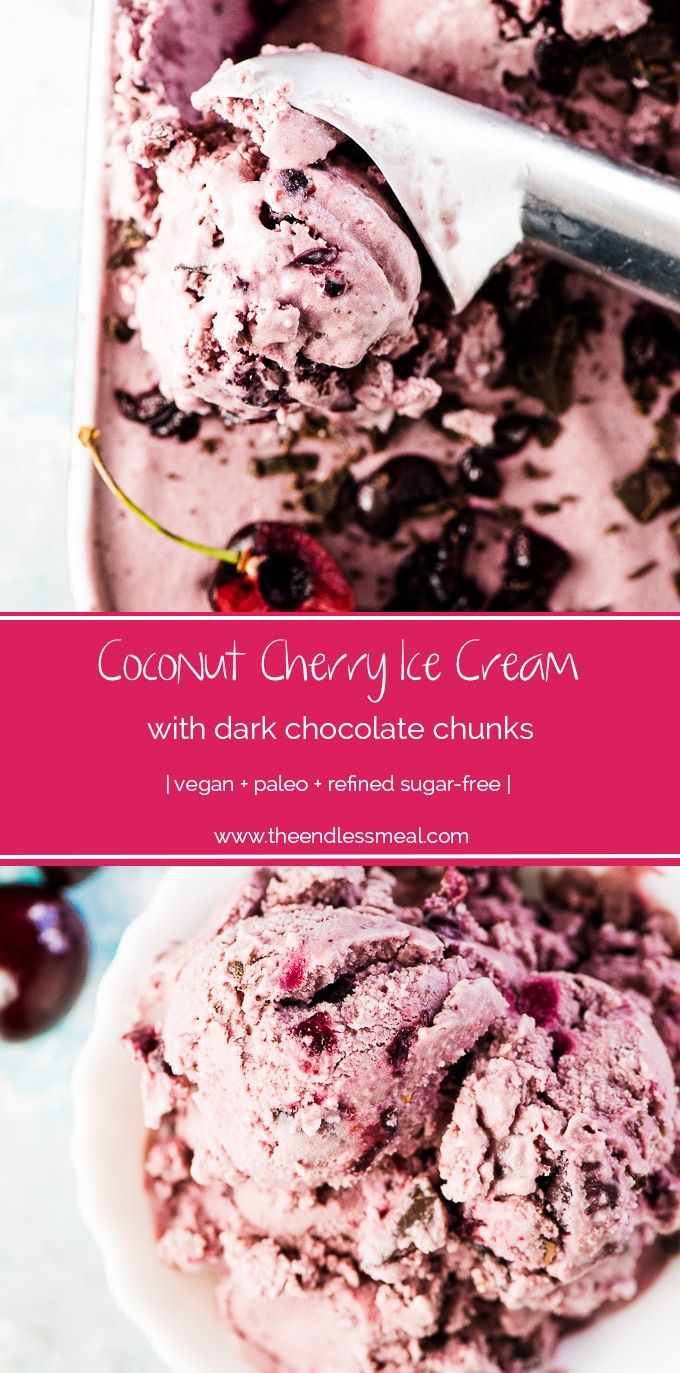 SAVE FOR LATER! Coconut Cherry Ice Cream is dotted with fresh cherries and chunks of dark chocolate and can be made with or without an ice cream maker. And you'd NEVER guess it's made with healthy ingredients! | vegan + paleo + refined sugar-free | #theendlessmeal #icecream #veganicecream #paleo #cherries #coconut #coconuticecream #summer #nochurnicecream
