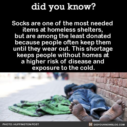 Socks are one of the most needed items at homeless shelters, but are among the…