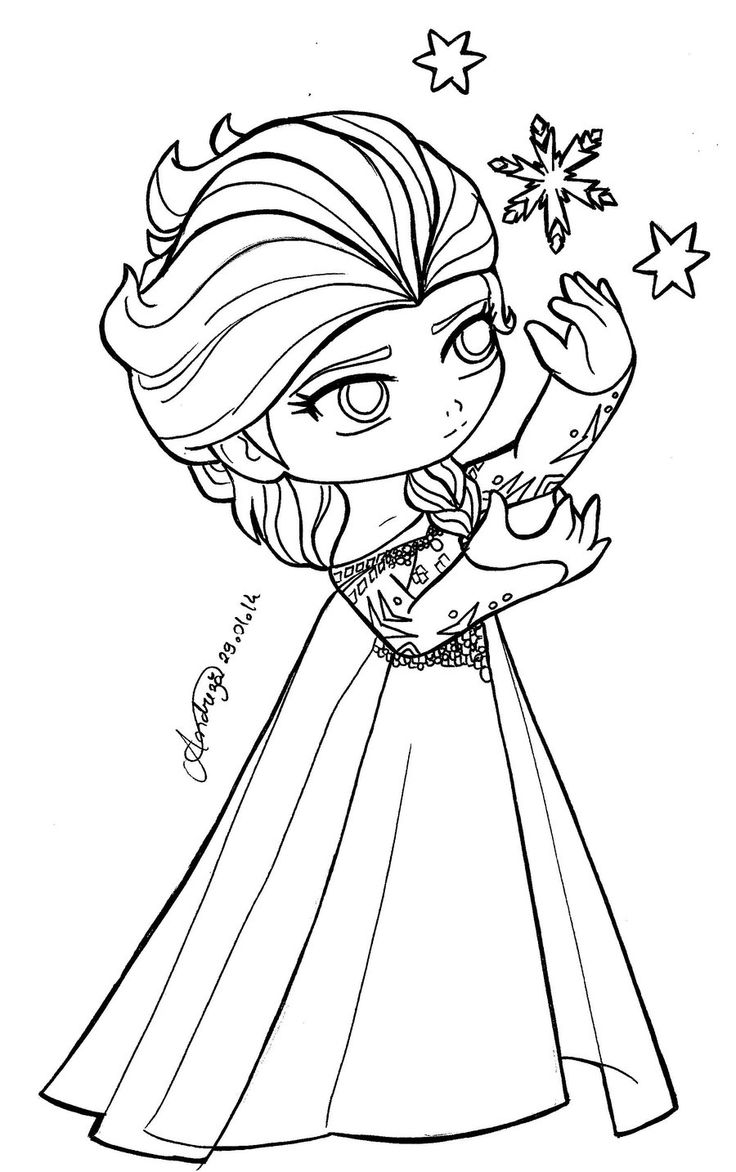 Princess Coloring Pages Spot : Chibi queen elsa frozen by tifayuy pinterest