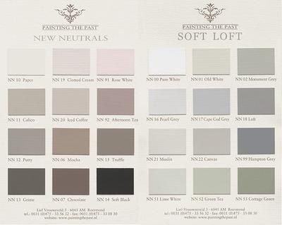 "Kleuren waaiers ""New Neutrals"" & ""Soft Loft"" van het merk Painting the Past."