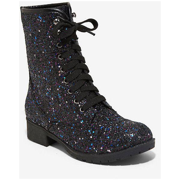 Black Purple Glitter Combat Boots (150