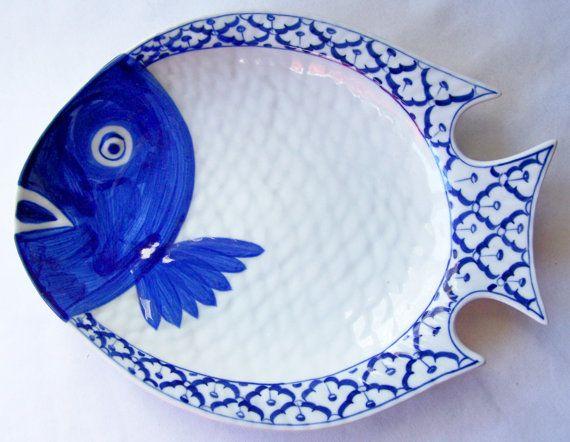 Thai CERAMIC PLATE / Dish / Platter Fish Shaped by BambooBayBazaar