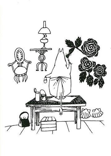 Moominmamma painting her garden