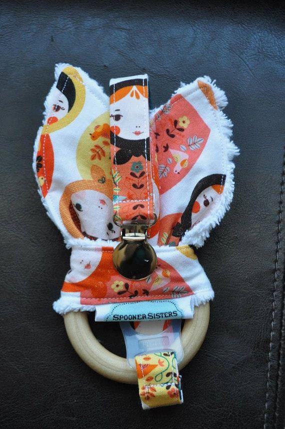 Orange Kukla Wooden Organic Teething by SpoonerSistersDesign, $30.00