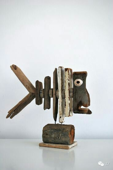 Driftwood / reclaimed wood fish sculpture