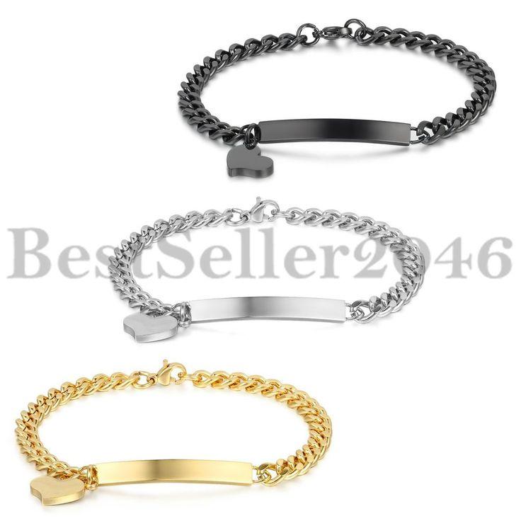 3 PCS Edelstahl Damen Armband Armreif Silber Schwarz Gold Panzerkette Herz Liebe