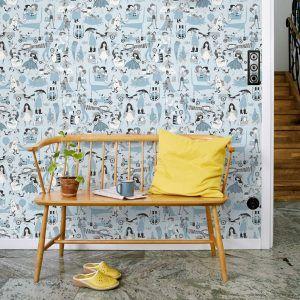 wallpaper Våra Visor blue, design Ylva Källström-Eklund