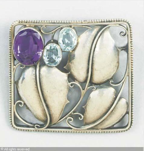 Josef Hoffmann. Brooch. Silver, amethyst and aquamarine. 1910.