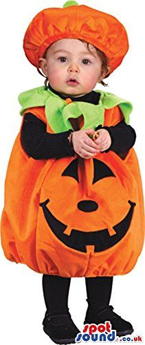 !@  Cute Pumpkin Vegetable Baby Size Plush Costume With Hat
