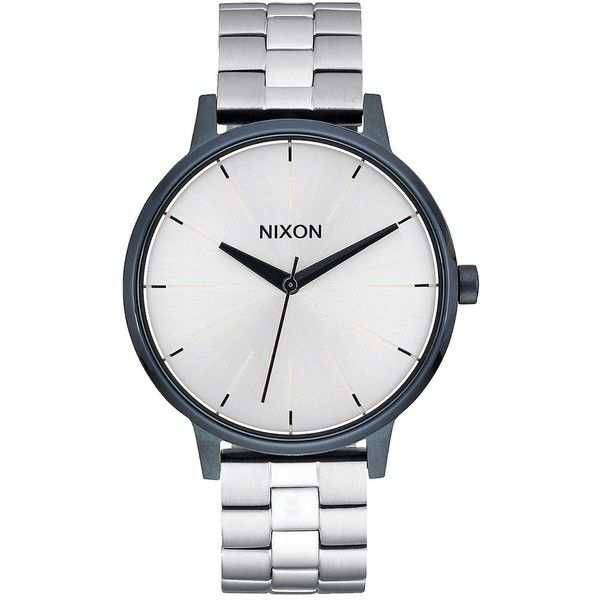 Nixon Mixed Messages II Kensington Watch ($175) ❤ liked on Polyvore featuring jewelry, watches, nixon wrist watch, stainless steel watches, 2 tone watches, stainless steel jewelry and nixon jewelry