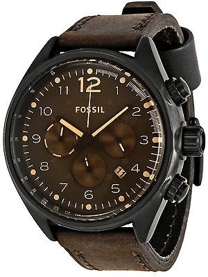 Fossil CH2782 Flight Steel Men's Brown Leather Chronograph Watch New in box