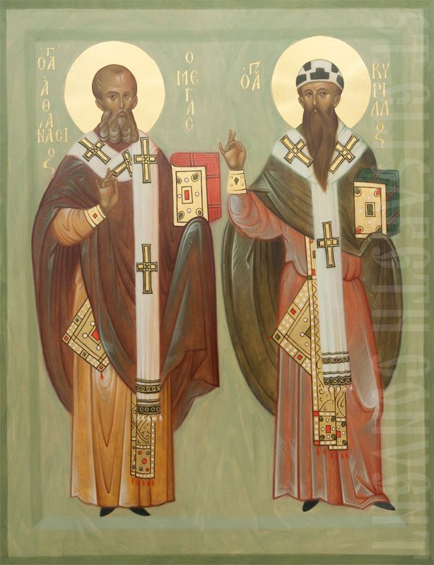 A handpainted icon of Saint Athanasius the Great and St Cyril of Alexandria.  Learn more: https://catalog.obitel-minsk.com/icon-st-athanasius-the-great-and-st-cyril-of-alexandria-imp-05-10-1.html  #CatalogOfGoodDeeds #OrthodoxIcons #Iconography