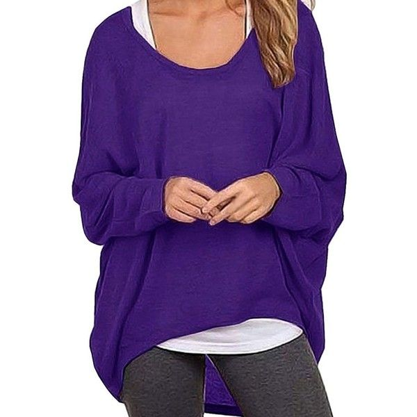 Dutebare Women Baggy Shirts Batwing Sleeve Pullover Loose Knit Tops... ($13) ❤ liked on Polyvore featuring tops, blouses, loose fit blouse, purple pullover, knit shirt, knit top and shirt blouse