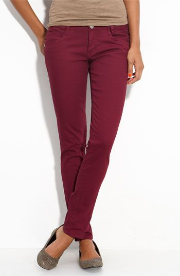 want some wine colored skinny pants.
