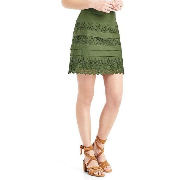 Gap Women Eyelet Lace Mini Skirt ($60) ❤ liked on Polyvore featuring skirts, mini skirts, monterey cypress, regular, gap skirts, layered mini skirt, mini skirt, short skirts and scalloped mini skirt