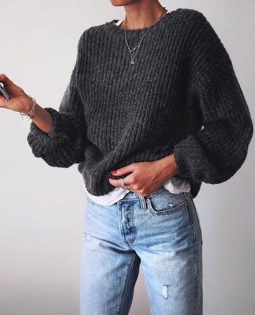 Street Style : streetstyleplatform:Grey Knit Sweater