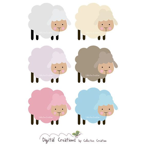 Little Sheep Digital Clipart - Personal and Commercial Use - Scrapbooking, Cards, Invitations, Paper Crafts etc