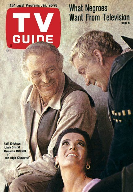 "TV Guide: January 20, 1968 - Leif Erickson, Linda Cristal and Cameron Mitchell of ""The High Chaparral:"