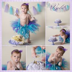 Girl Cake Smash Teal, Violet & Purple!  My Blue Violet Photography in Longmont CO.  One Year Old Cake Smash Photos.