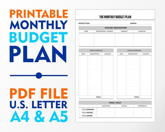 Expense and Monthly Budget Planner Planner A4 A5 and by vecprin