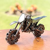Auto parts sculpture, 'Rustic Motorcross Bike'