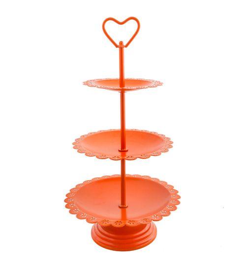 Chumbak Three Tired Orange Cast Iron Cake Stand