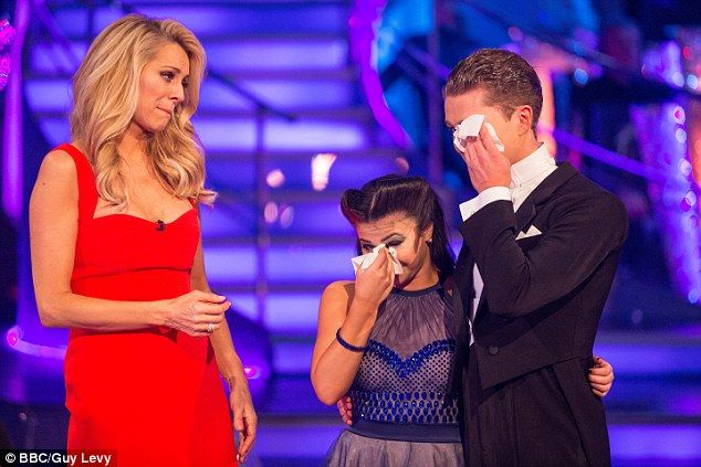 Emotional: Claudia Fragapane and her partner AJ Pritchard became the twelfth couple voted out of Strictly Come Dancing on Sunday night - missing out on the final by one week