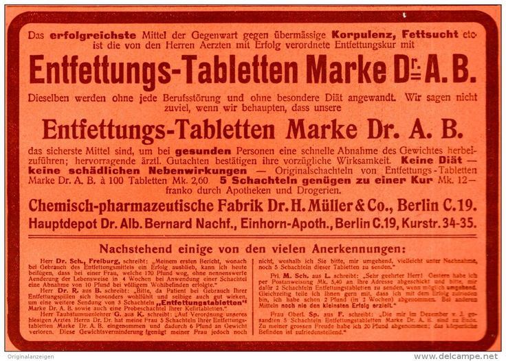 Original-Werbung/ Anzeige 1909 -  ENTFETTUNGS - TABLETTEN DR. A.B. / EINHORN-APOTHEKE BERLIN - ca.180 x 130 mm