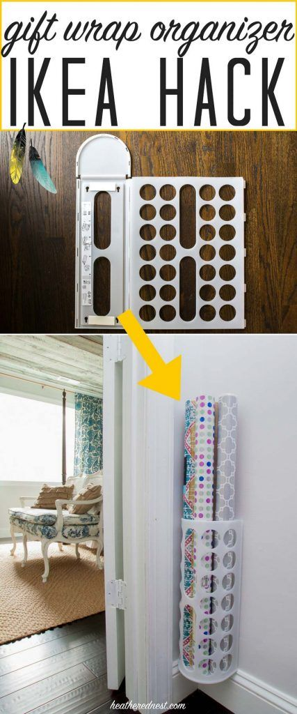 Popular Ikea Hack! What a GREAT, inexpensive DIY organizer!! Make this grift wrap organizer in less than 5 minutes, for $2!!! tutorial from heatherednest.com