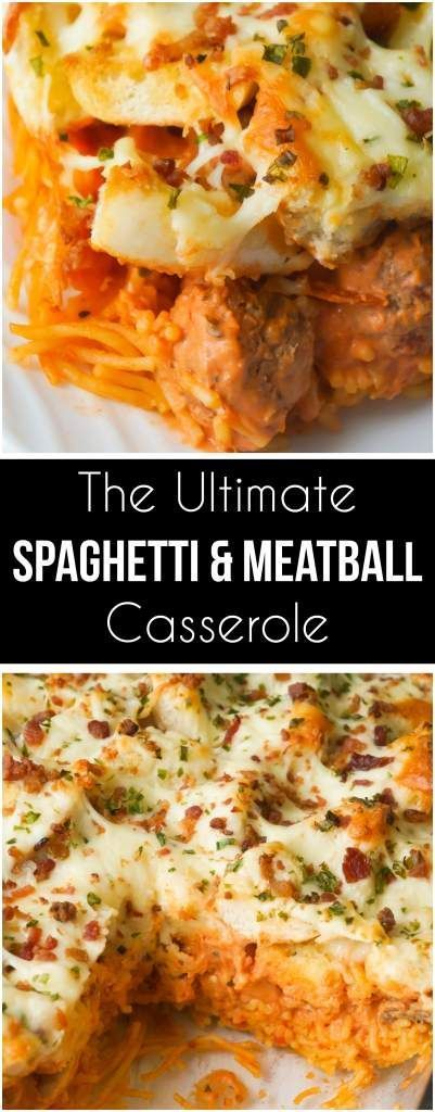 This baked spaghetti and meatballs casserole is topped with garlic cheese bread. This easy dinner recipe is made with meatballs and spaghetti in a cream cheese and marinara sauce followed by a layer of bagel pieces coated with garlic butter and topped wit