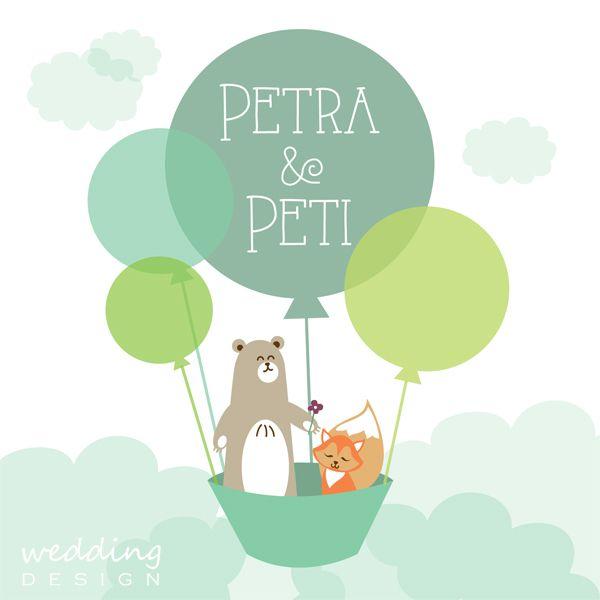 Cute wedding invitation card with Bear&Fox - Kedves esküvői meghívó Medve fiúval és Róka lánnyal Graphic/Grafika: Wedding Design