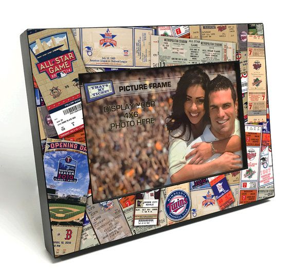 Minnesota Twins Ticket Collage Wooden 4x6 inch Picture Frame - Officially Licensed by MLB