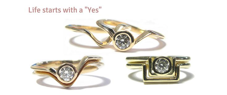 Wedding Rings fitted design by Ringcraft Moana Jewellers in New Plymouth. Handcrafted using 18ct rose and yellow gold.