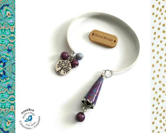 Bracelet Argenté Jonc Arbre de Vie Breloques Perle en Papier