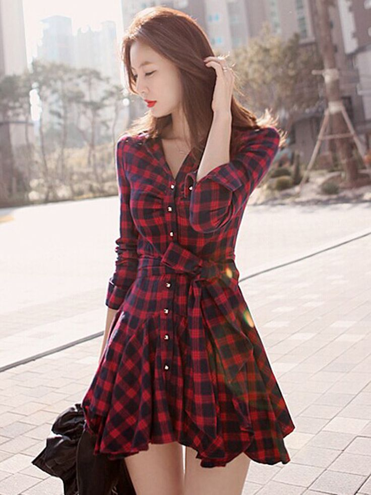 Red Plaid Long Sleeve Shirt Dress With Bowknot Belt | Choies