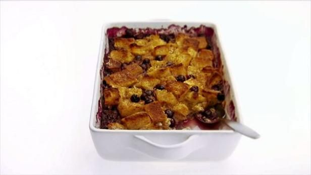Giada's baked French toast is bursting with fresh, juicy blueberries.