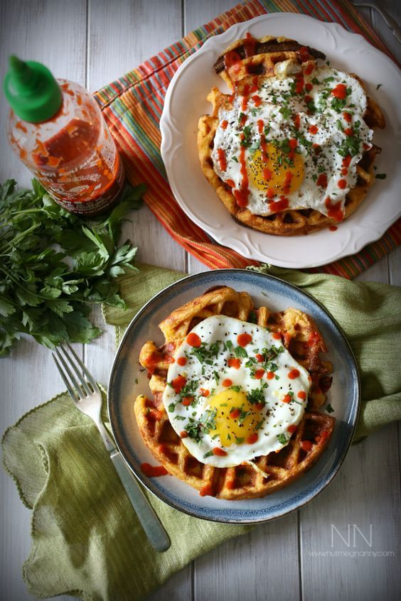 Cheddar Sausage Cornmeal Waffles: Crispy cornmeal waffles stuffed with ...