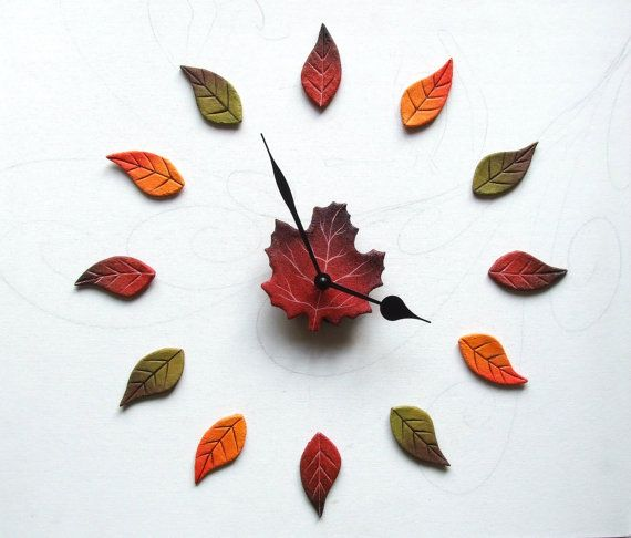 Autumn leaves Wall clock Red maple leaf clocks by Sognoametista