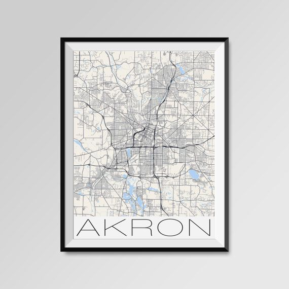 Akron map, Ohio, Akron print, Akron poster, Akron map art, Akron city maps, Akron Minimal Wall Art, Akron Office Home Décor, black and white custom maps, personalized maps