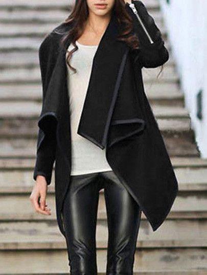 Black Wrap Asymmetrical Coat Trendy Black Jacket