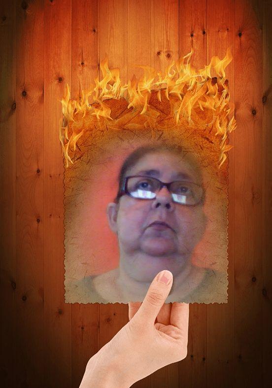 Burning Image Funny Photo Frame