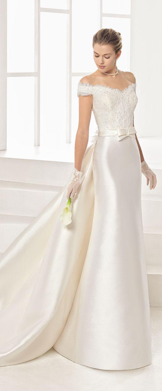 Graceful Tulle & Satin Off-the-shoulder Neckline Sheath/Column Wedding Dress With Beaded Lace Appliques & Detachable Train