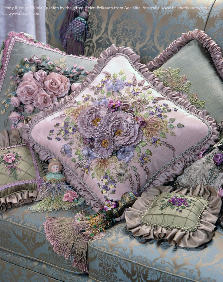 Peony Rose and Viola Cushion by Helen Eriksson. Oh. My. Goodness. Truly sumptuous.